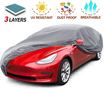 Amazon Com Leadpro Car Cover 3 Layer Weather Defender Uv Protection Scratch Resistant Dustproof Universal Size Sedan Auto Vehicle Cover For Car Length 200 Automotive