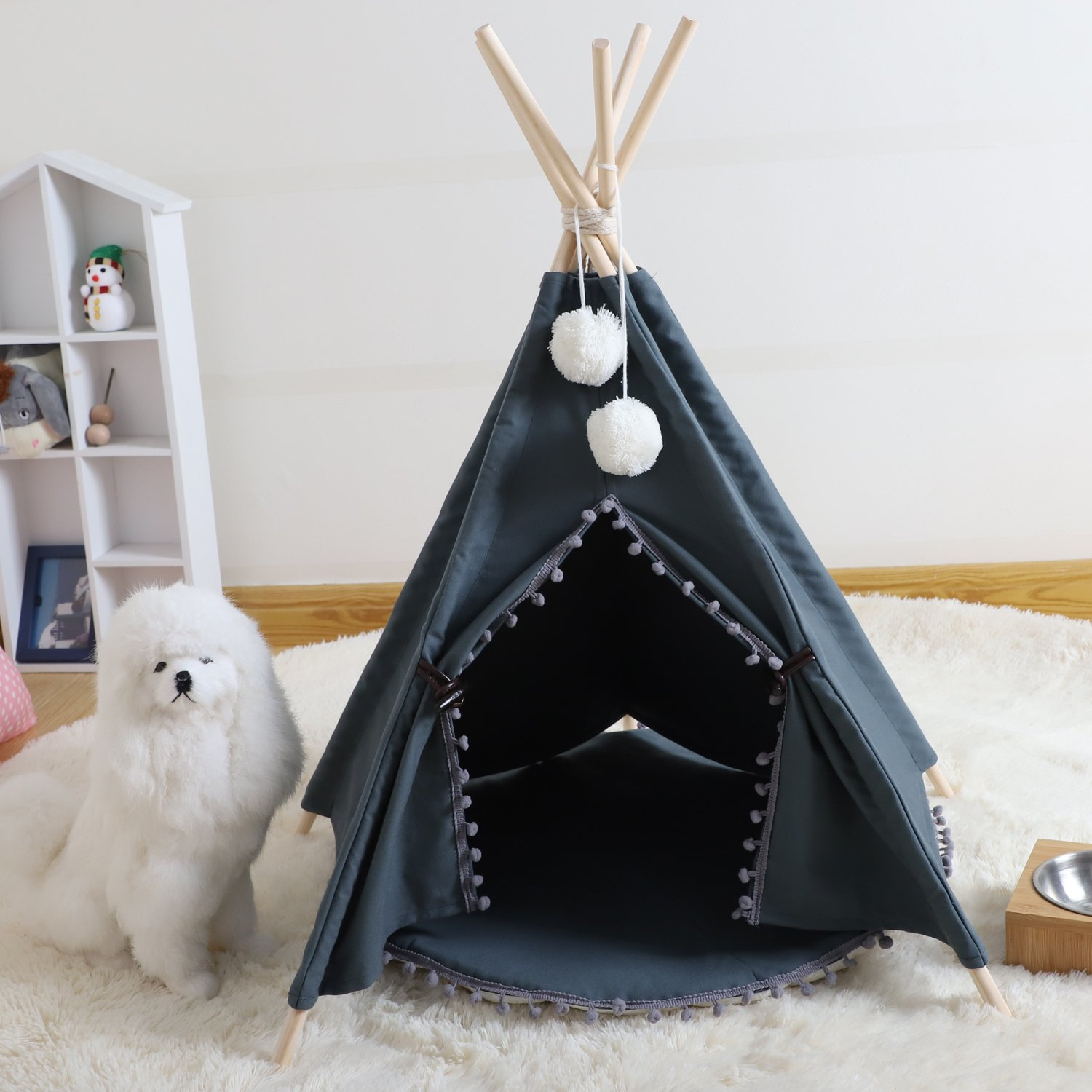 Wonder Space Pet Teepee House - 28 Inch 5-Pole Grey Canvas Tent with Pom Pom Opening, Comes with Cushion &Free Hangings & Name Blackboard, Elegant Cat Dog Puppy Snuggle Bed Furniture By