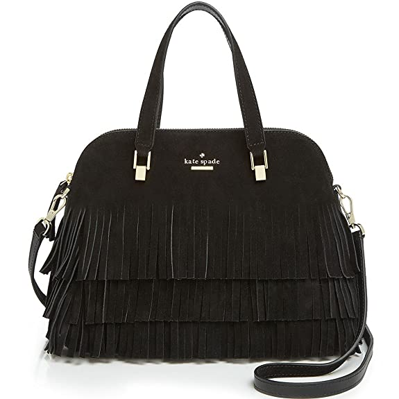 Kate Spade Sycamore Run Suede Fringe Maise Satchel, Black