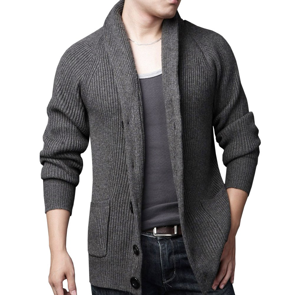 Aecibzo Men's Slim Fit Soft Knitted Shawl Collar Cardigan Sweater with Pockets