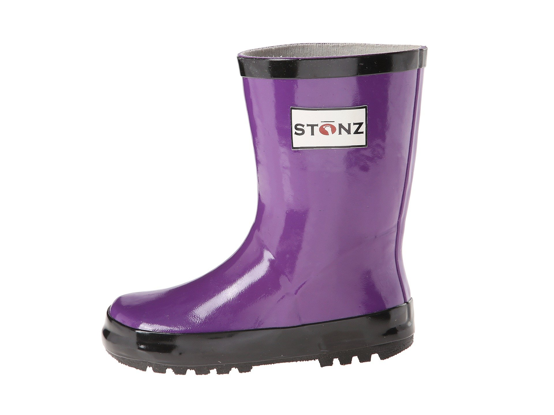 Stonz All-Natural Rubber Rainboot Rain Boots for Toddler Little Big Kid - Waterproof Colorful Warm - Summer Fall Winter - Purple, Size 1Y by Stonz (Image #2)