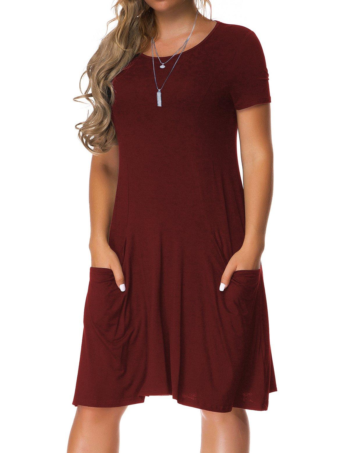VERABENDI Women's Plus Size Short Sleeve Dress Casual Loose Pocket T-Shirt Dress Burgundy M