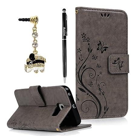 BADALink Hülle für Samsung Galaxy S6 Edge Schutzhülle Flip PU Ledertasche Case Magnetverschluss Blumen Schmetterling Cover Ha