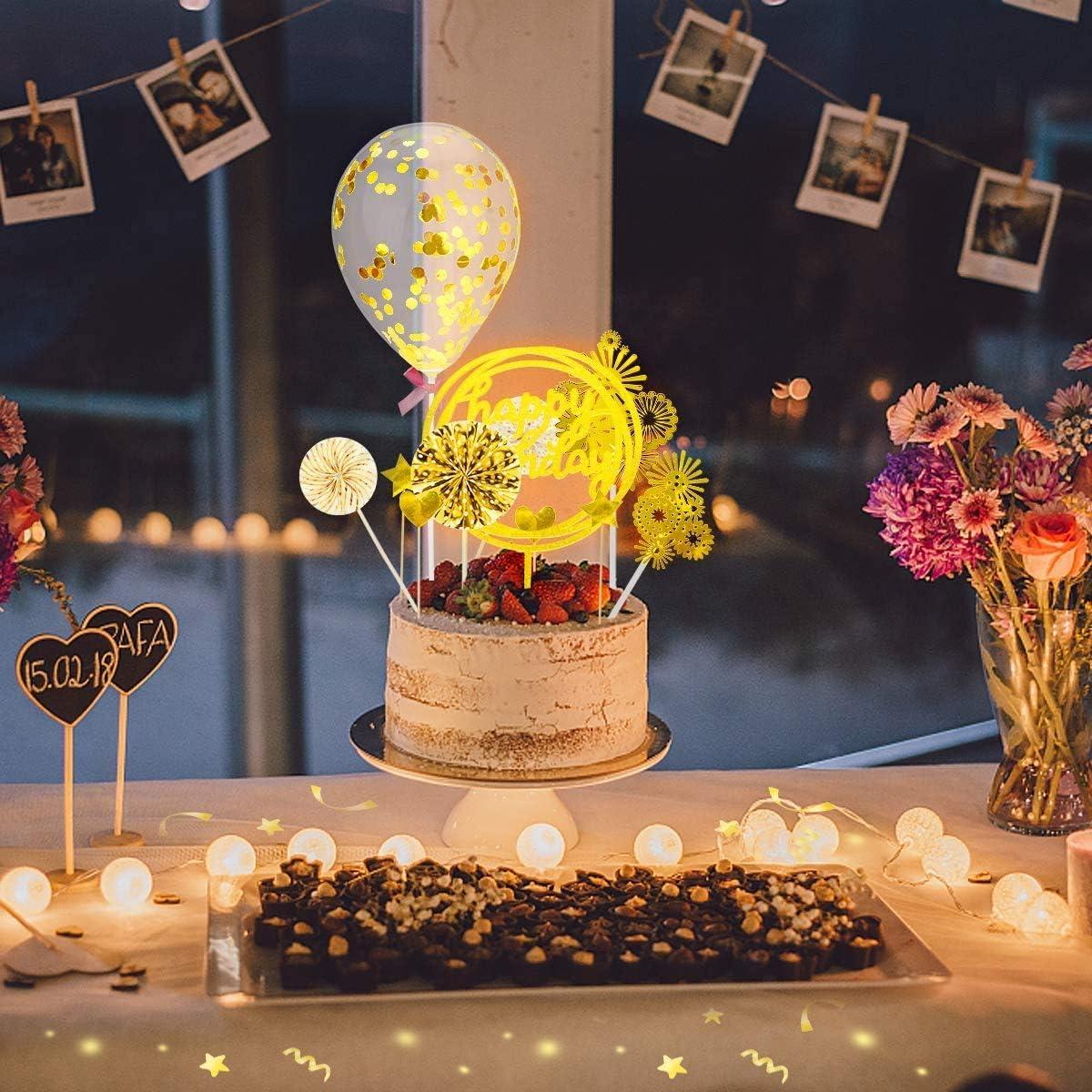 Torta Toppers de Cumplea/ños Cake Topper Happy Birthday Cake Toppe pasteles Decoraci/ón Happy Birthday Cupcake Topper Set Golden Topper Torta Toppers para Decorations Suministros para Fiestas