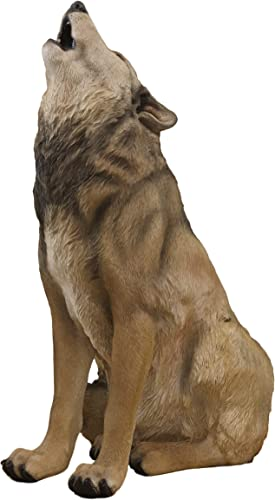 Ebros Large Wildlife Sitting Alpha Wolf Howling at The Moon Statue 33.25 Tall Lifelike Wolves Or Timberwolves Decor Figurine for Rustic Cabin Lodge Animal Totem Spirit Collectible Art Gifts
