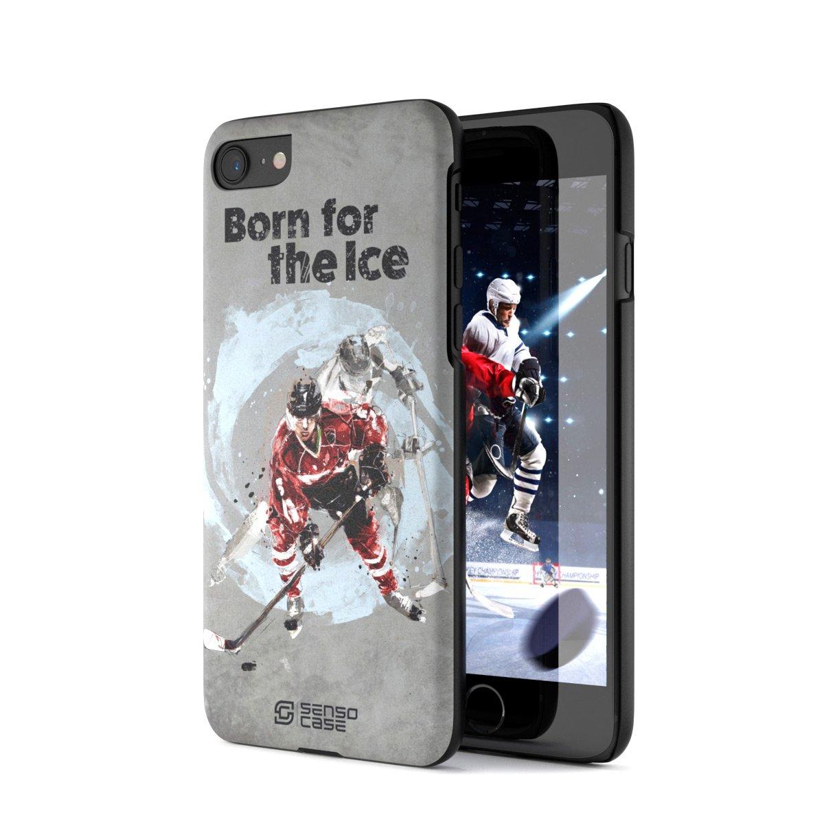 iPhone 7/8 Case, Born For Hockey. Sensocase Premium Extreme Sports Unique Designer Tough Shell Thin Cover. Luxury, Anti-Fingerprint, Anti-Scratch Stylish Slim Protective Apple Phone Case. by SENSOCASE