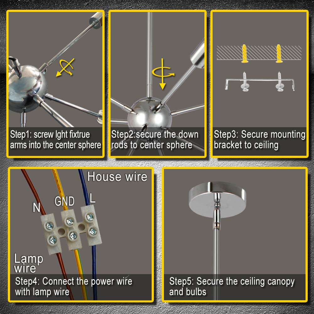 Lampada a Sospensione Lusso Camera da Letto Soggiorno ENCOFT Sputnik Lampadario con 18 Luci Base E27 Moderno Nero Senza Lampadina