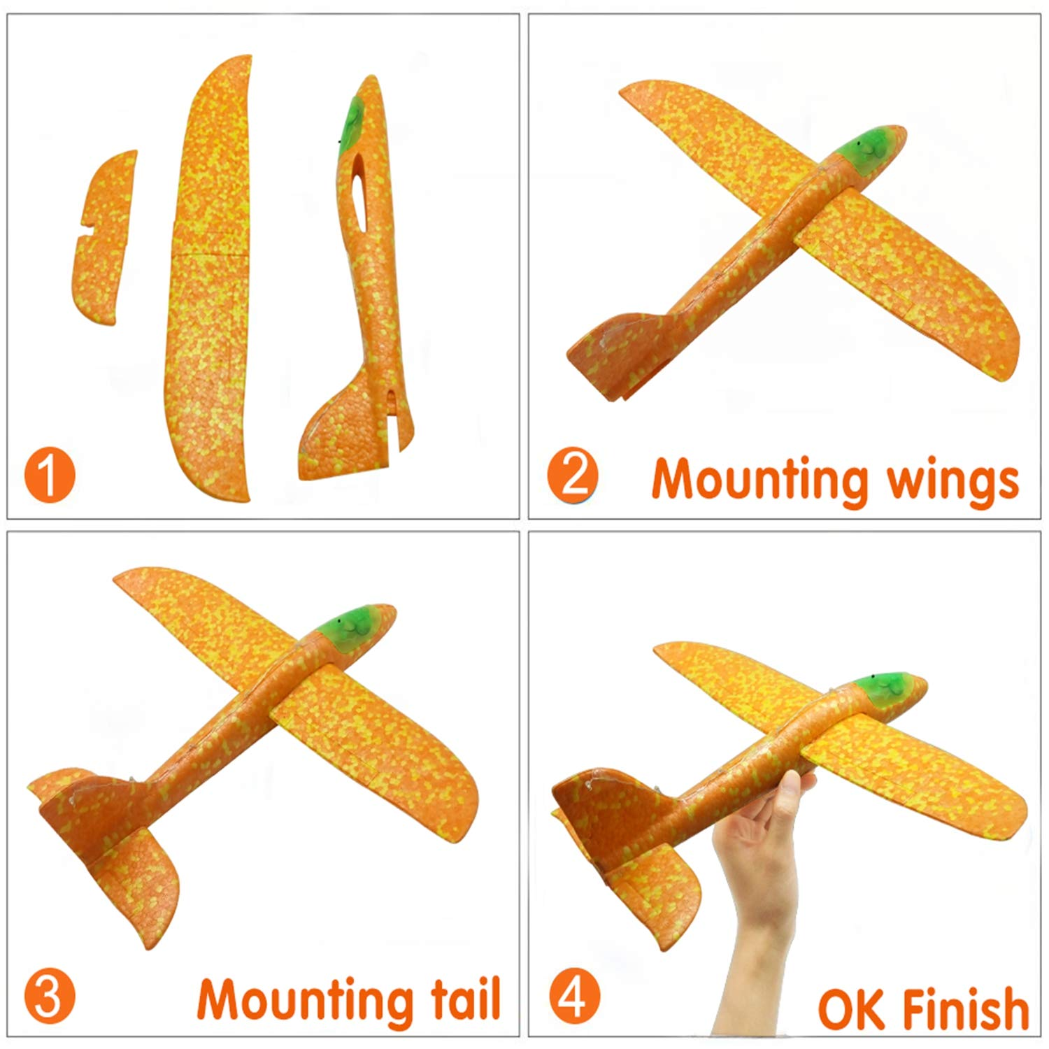 Airplane Toy for Kids, 3 Pack 13.5'' LED Light Up Throwing Foam Airplane Flying Aircraft Plane DIY Glider Aeroplane Model Jet Kit Flying Toys for Boys Girls Teens, Outdoor Sport Game Toys Party Favors by GreaSmart (Image #8)