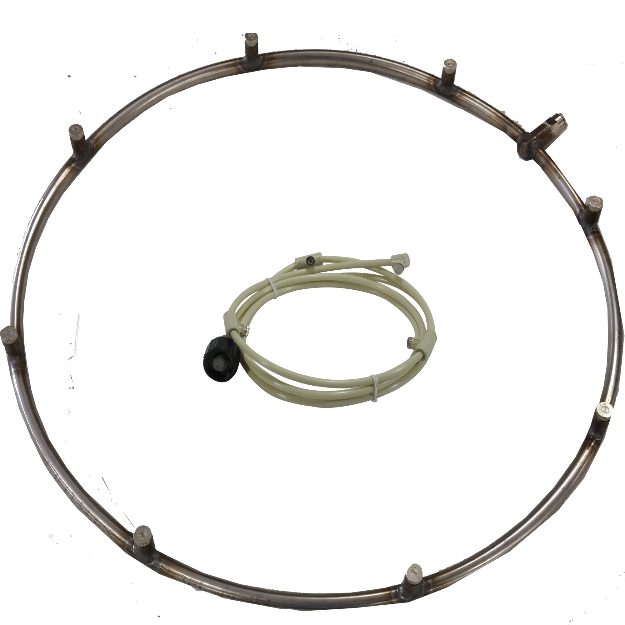 Misting Fan Ring - Stainless Steel Ring with Feed Line and Misting Nozzles - Ideal as Patio Misting system, for Warehouse Misting. can be used with Mistcooling Pump. (25'' Dia 10 Nozzles 6ft Line)