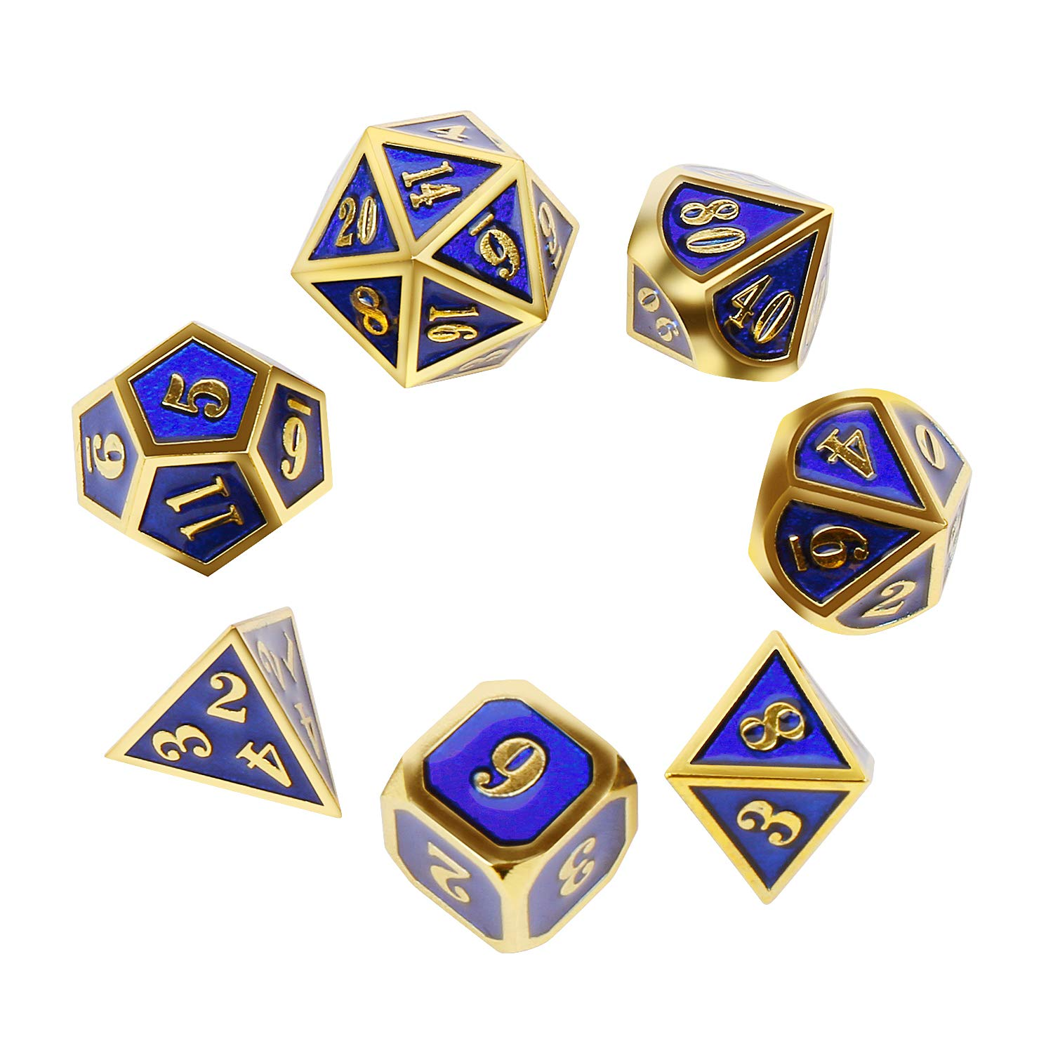 Metal Dice Set Polyhedral DND Role Playing Game Dice Set with Storage Bag for RPG Dungeons and Dragons D&D Math Teaching Tabletop Games (Shiny Gold and Blue) by Stylifing