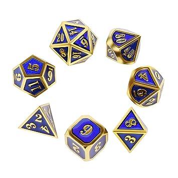 Amazon.com: Juego de dados de metal Polyhedral DND, juego de ...