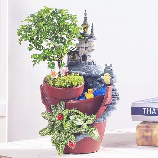 Ganeep 1 Pieza Casa Rural Flower Pot Resina Maceta Planta Suculenta Macetas Jardín de Hadas Bonsai Castle Planter Home Garden Decoratio (tamaño : A): Amazon.es: Jardín