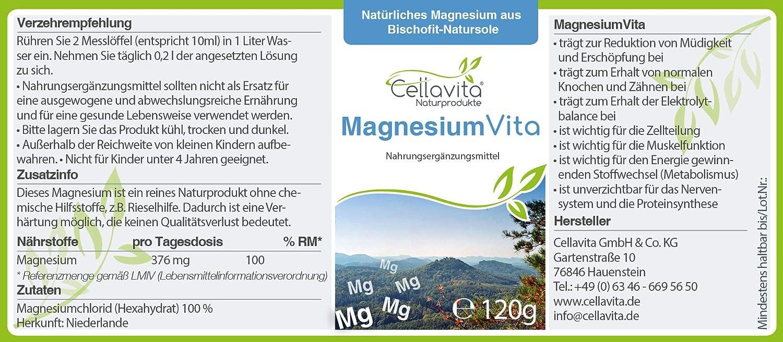 CELLA Vita Magnesio Vita (100%), con natural Magnesio de bischofita - Natural Suela/100% Cloruro de magnesio: Amazon.es: Salud y cuidado personal
