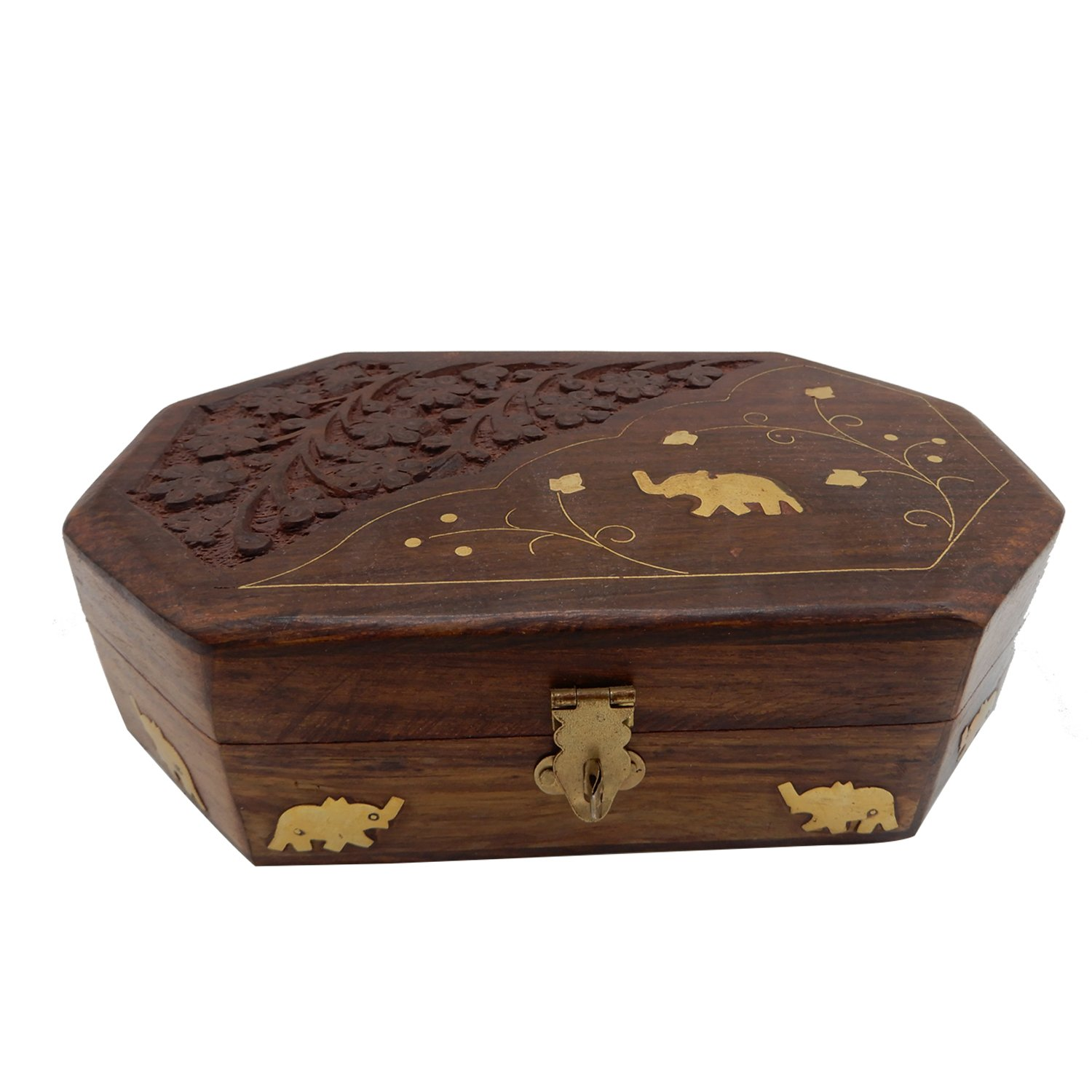 WhopperIndia Handmade Wooden Jewelry Storage Box Keepsake Vintage Jewelry Box with Elephant and Carving Work 7 X 5 Inch