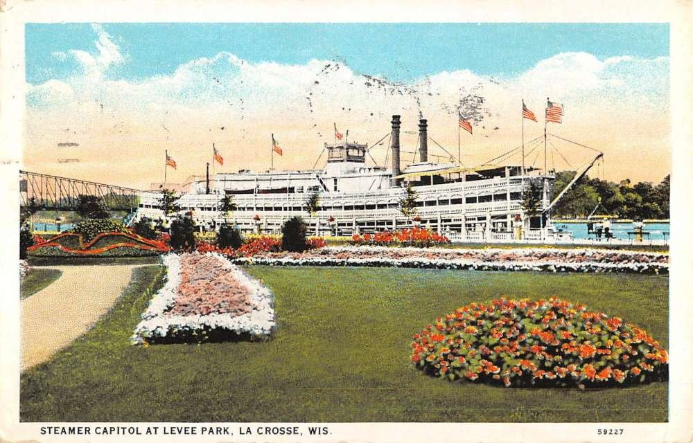 La Crosse Wisconsin Steamer Capitol Levee Park Antique Postcard K71073 at Amazons Entertainment Collectibles Store
