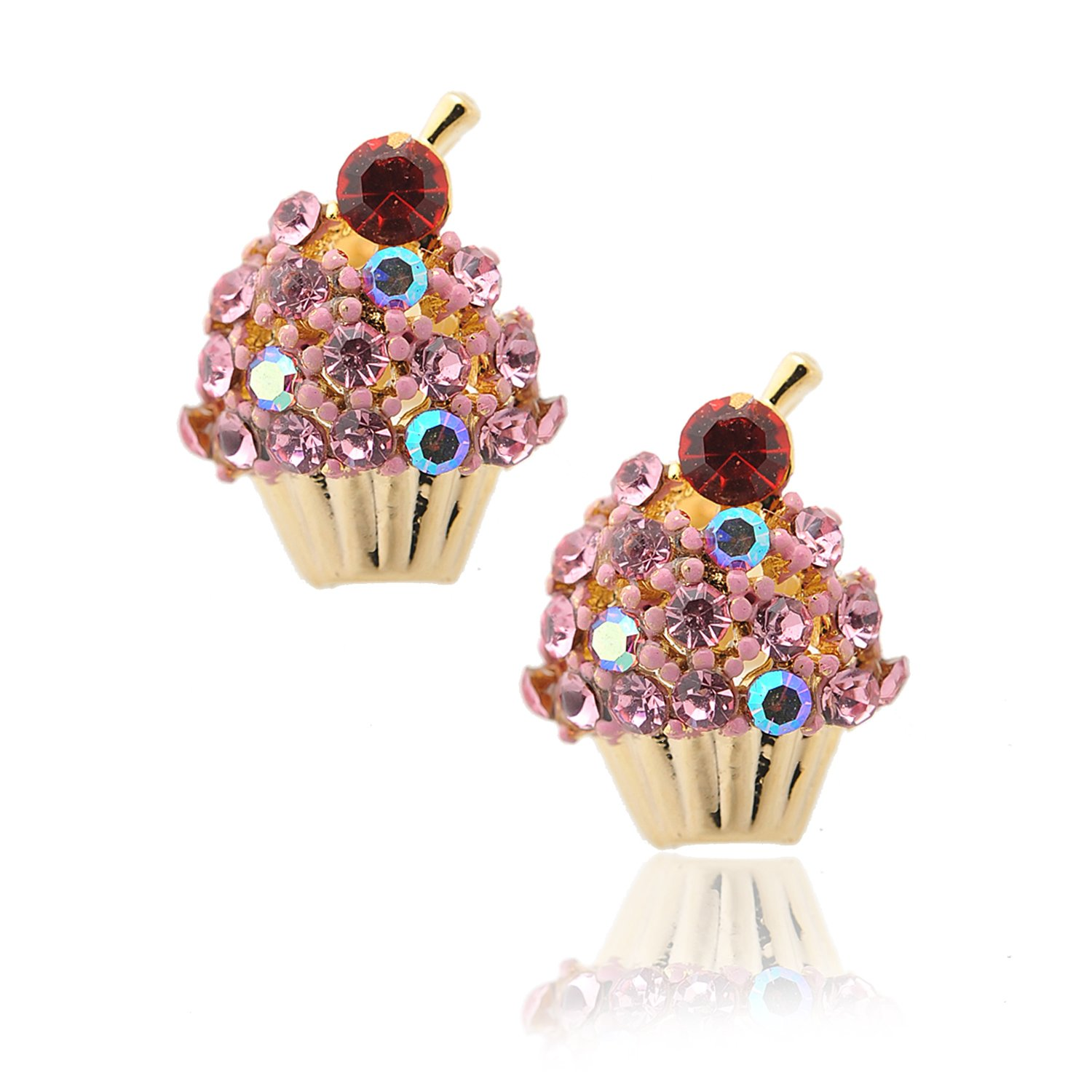 Spinningdaisy Crystal Cherry on the Top Cupcake Earrings (Pink)