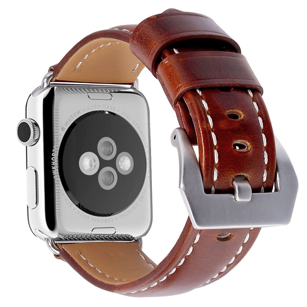 Apple Watch Bands, Genuine Leather 42mm Strap with Stainless Metal Buckle Fit for Men/Women's Apple Watch Series 3, Series 2, Series 1 & Sport & Edition (Burgundy)