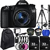 Canon EOS 70D DSLR Camera Bundle with 18-55mm f/3.5-5.6 IS STM Lens, Carrying Case and Accessory Kit (10 Items)