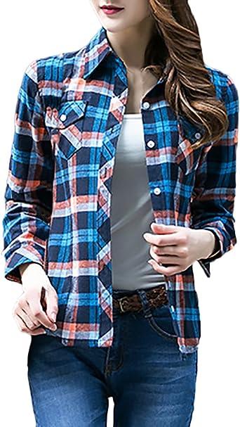 Saoye Fashion Camisas A Cuadros Mujer Manga Larga Tallas Grandes Elegantes Vintage Chic Camisa Blusas Moda De Solapa Un Solo Pecho Primavera Otono Oficina Blusones Tops Casual Amazon Es Ropa Y Accesorios