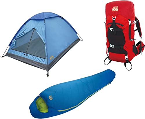 Alpinizmo High Peak USA 20F Sleeping Bag 3 Men Tent 40 Liter Hiking Pack Combo