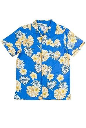 2c962ad01439 Ragstock Men's Hawaiian Shirts (Small, Blue_Hib_0244)