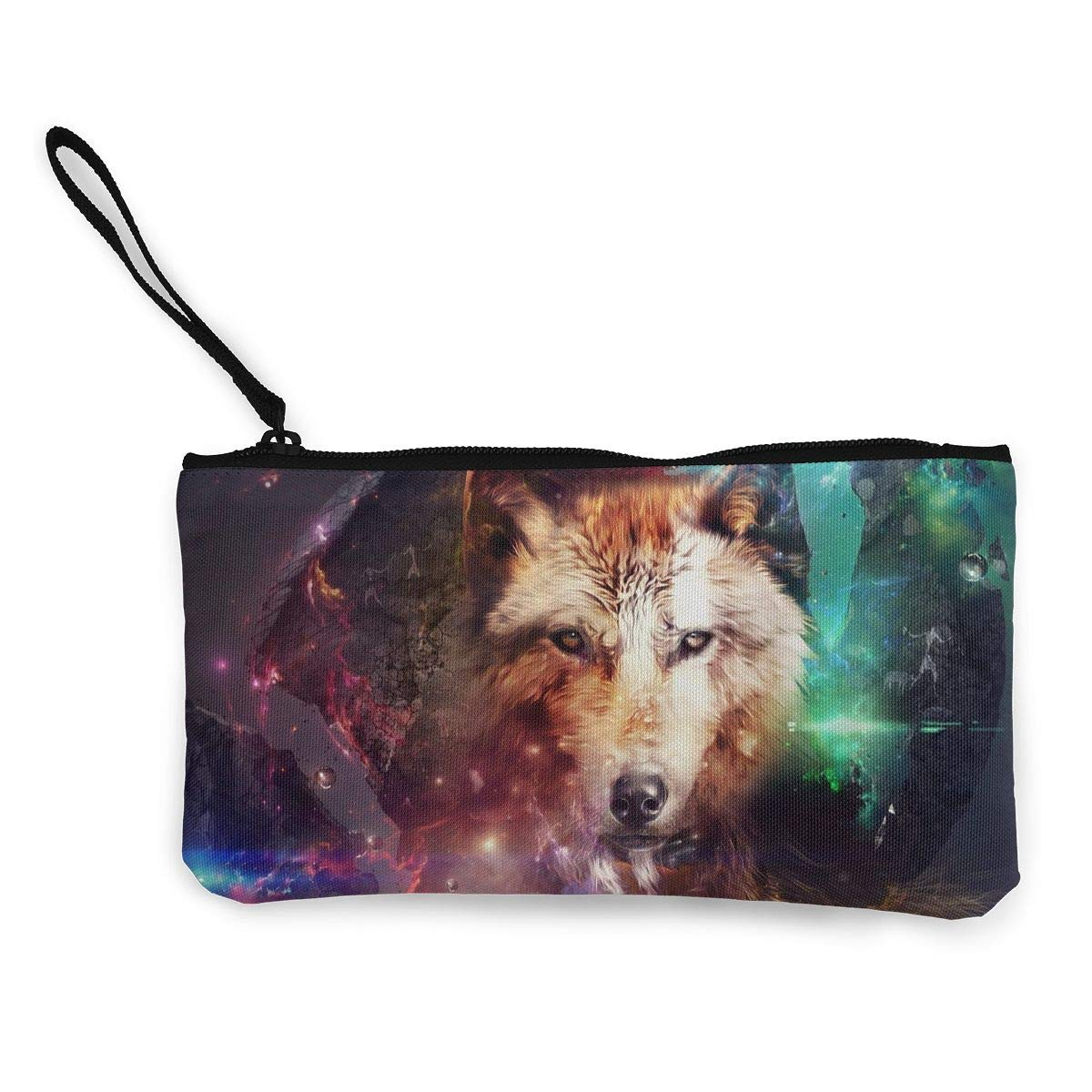 Coin Pouch Fantasy Wolf Canvas Coin Purse Cellphone Card Bag With Handle And Zipper