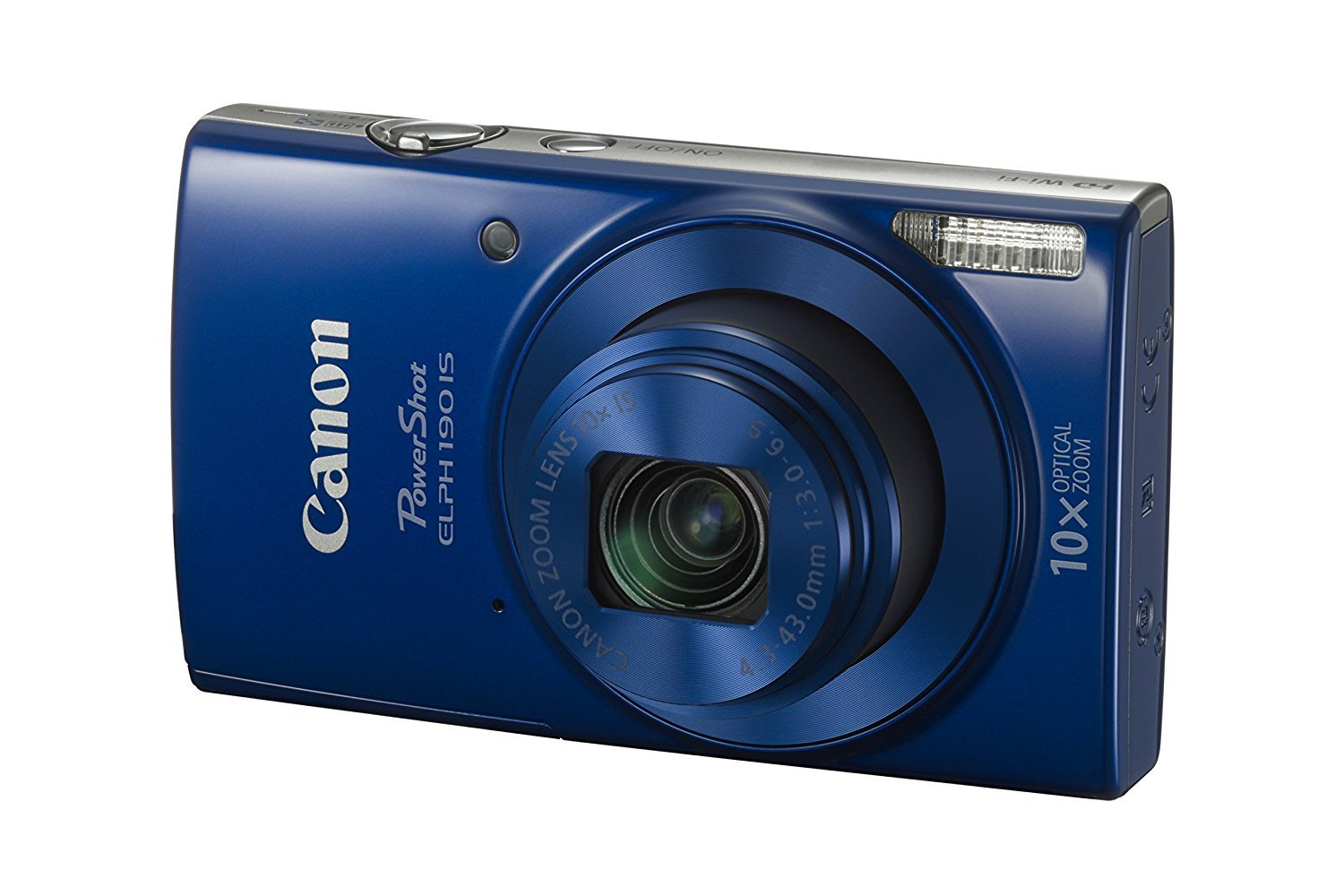 Canon PowerShot ELPH 190 IS with 10x Optical Zoom (24-240mm) and Built-In Wi-Fi with NFC - Blue (Certified Refurbished) by Canon