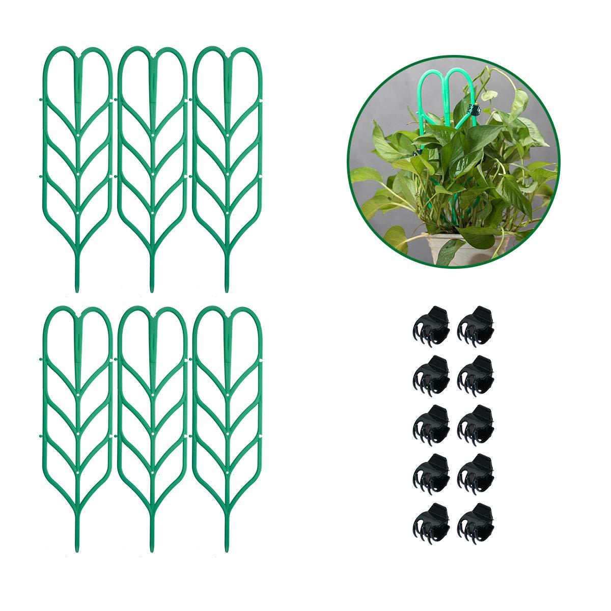 Vasdoo Indoor Plant Trellis 6 Pcs Garden Trellis DIY for Potted Plant Support, 10 Pcs Plant Clips,Leaf Shape Mini Climbing Plants Flower Vegetables Rose Vine Pea Ivy Cucumbers Pots Support