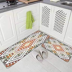 "Kitchen Rug,Jacrane Farmhouse Kitchen Rugs Indoor Rug Non Slip Kitchen Rug Ethnic Patterns Kitchen Carpets and Rugs Rug for Kitchen (17""X48""+17""X24"")"