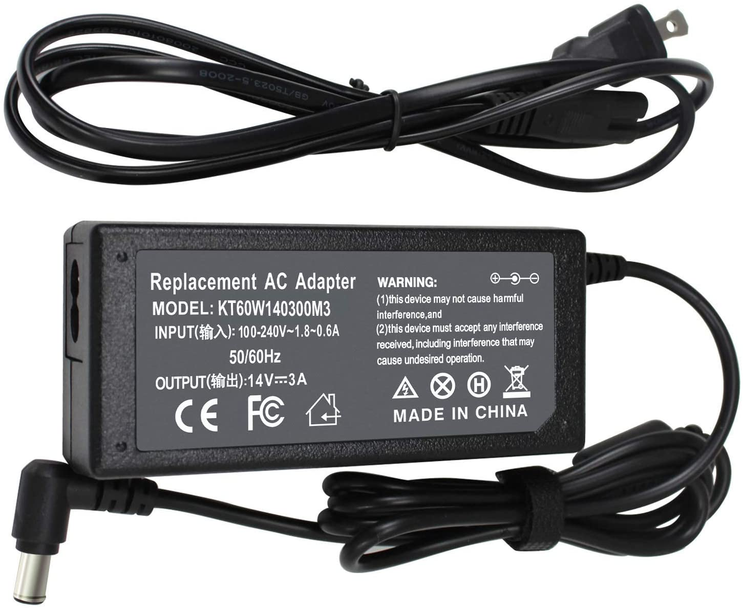 AC Charger Monitor Power Supply Compatible with Samsung SyncMaster LCD/TFT 770 S20D300H 193p S22A300B S24B150BL S22C300H S23C350H S27D390H P2770 P2770FH S27D590P U28E590D A3514-DPN AD-4214N Cord