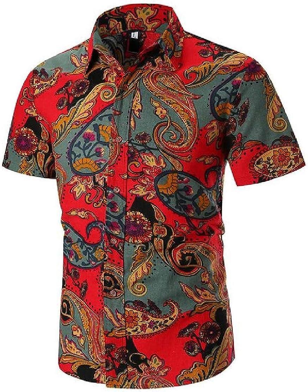 JXG Men Button Up Short Sleeve Hawaii Slim Casual 3D Print Shirts