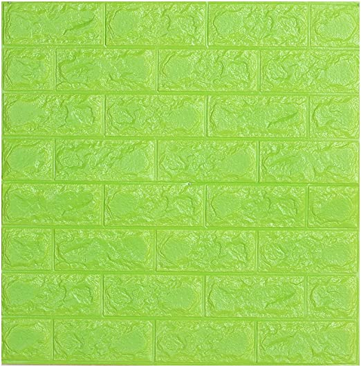 Amazon Com Childplaymate 3d Wallpaper Brick Foam Wall Stickers For Bedroom Living Room Background Tv Decor Green Home Kitchen