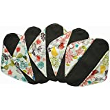 5 Pieces Charcoal Bamboo Mama Cloth/ Menstrual Pads/ Reusable Sanitary Pads (Pantyliner (8 inch), Bloom)