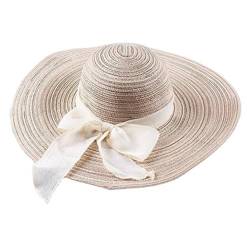 Generic Donne Signore Moda Paglia Di Bowknot Cappellini Protezione Della Spiaggia Cappello Da Sole