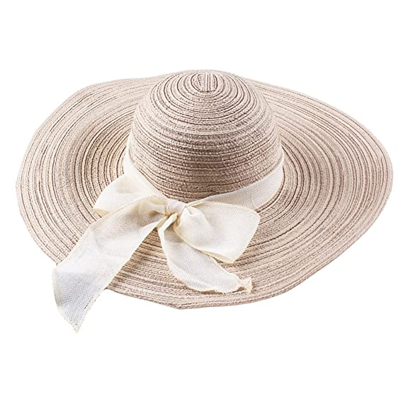d4e6bff8 Image Unavailable. Image not available for. Colour: Imported Women Beach Hat  Derby Cap Wide Brim Floppy Fold Summer Straw ...