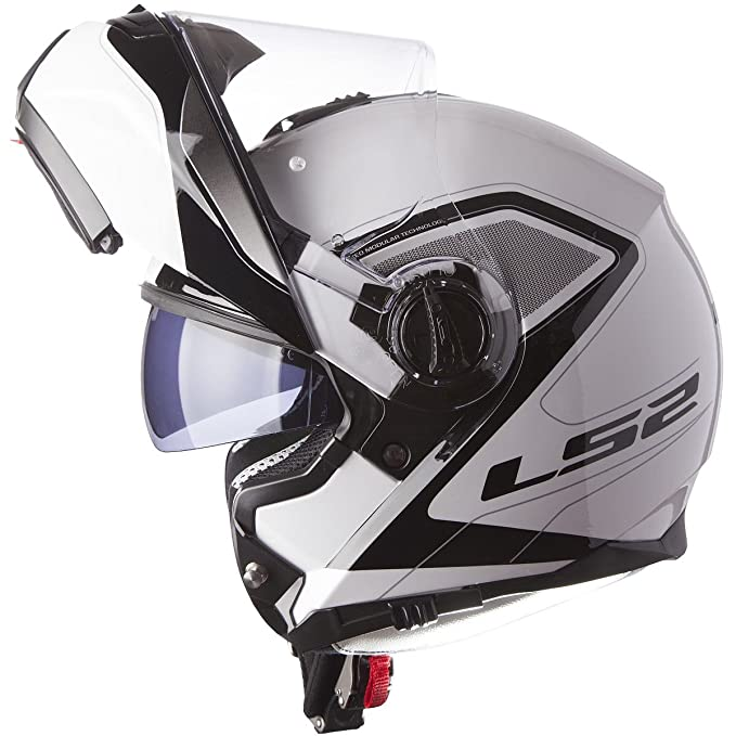 Amazon.com: LS2 Helmets Strobe Civik Modular Motorcycle Helmet with Sunshield (White, XX-Large): Automotive