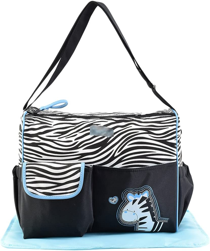Jitong Lovely Shoulder Bag Messenger for Mummy Animal Print Large Baby Nappy Changing Bags Travel Diaper Totes Blue #1, 38 * 18 * 30cm