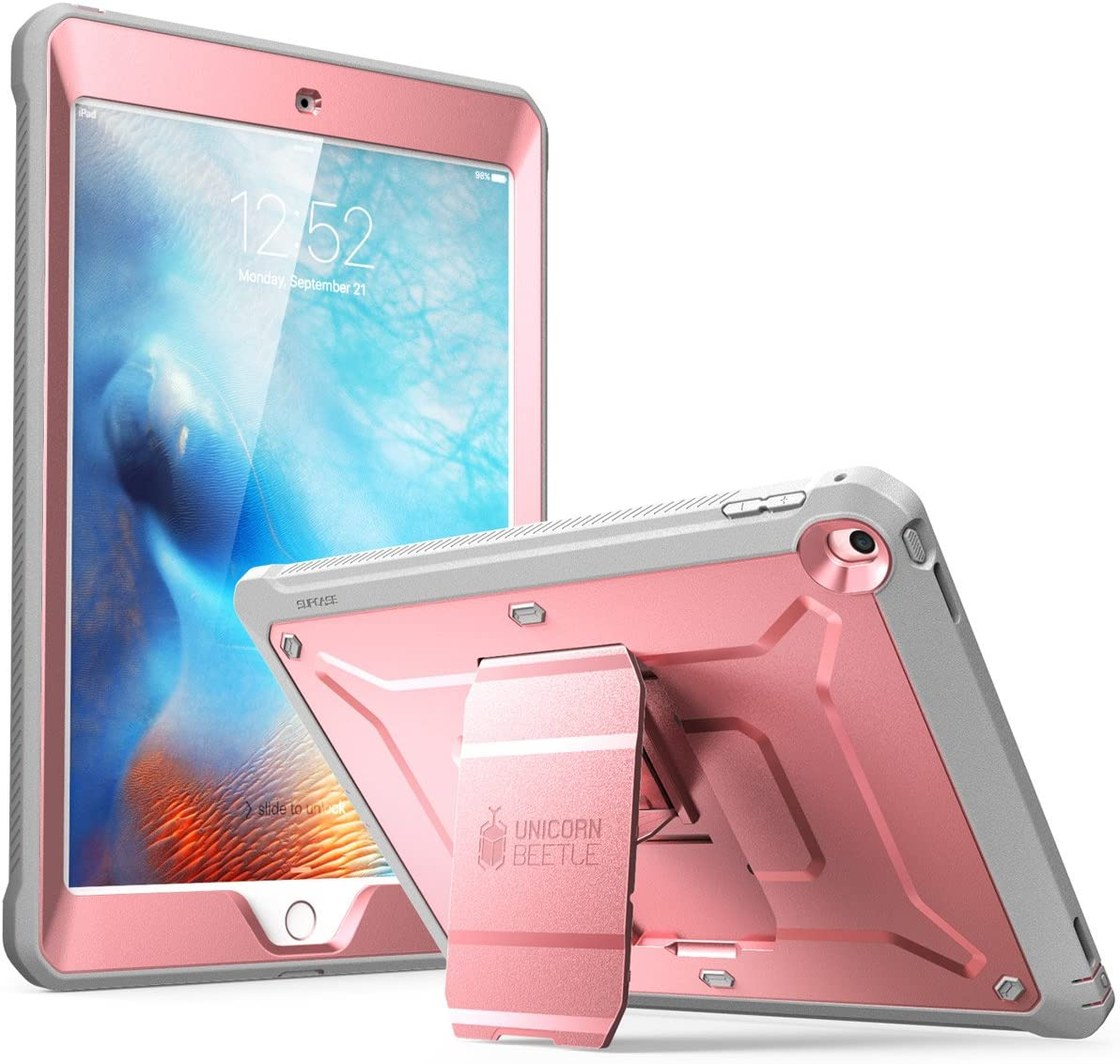 SUPCASE Unicorn Beetle Pro Series Case Designed for iPad 9.7 2018/2017, with Built-in Screen Protector & Dual Layer Full Body Rugged Protective Case for iPad 9.7 5th / 6th Generation(RoseGold)