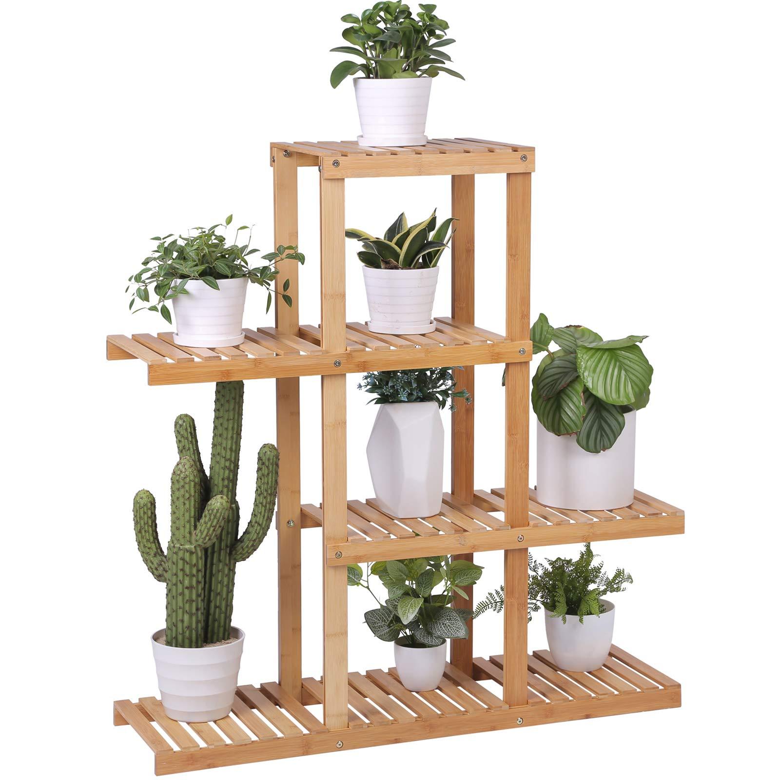 SONGMICS Bamboo Wood Plant Display Rack, Stand Shelf, Flower Pots Holder, 4 Tier Utility Shelving Standing Unit Storage Organizer Rack for Living Room Balcony Hallway Bathroom UBCB91N