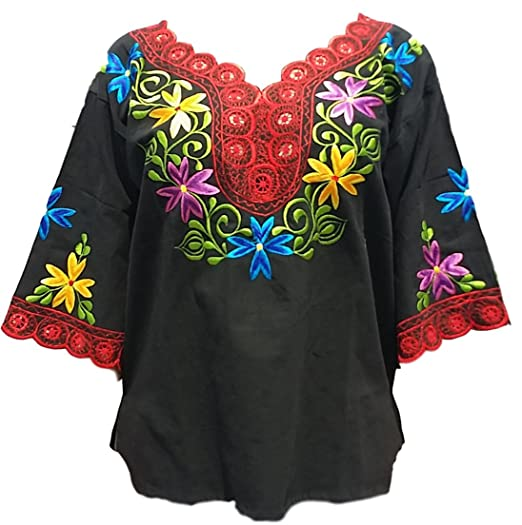 Kike Mexican Flowers Colorful Women Blouse Made In Yucatan Black Red