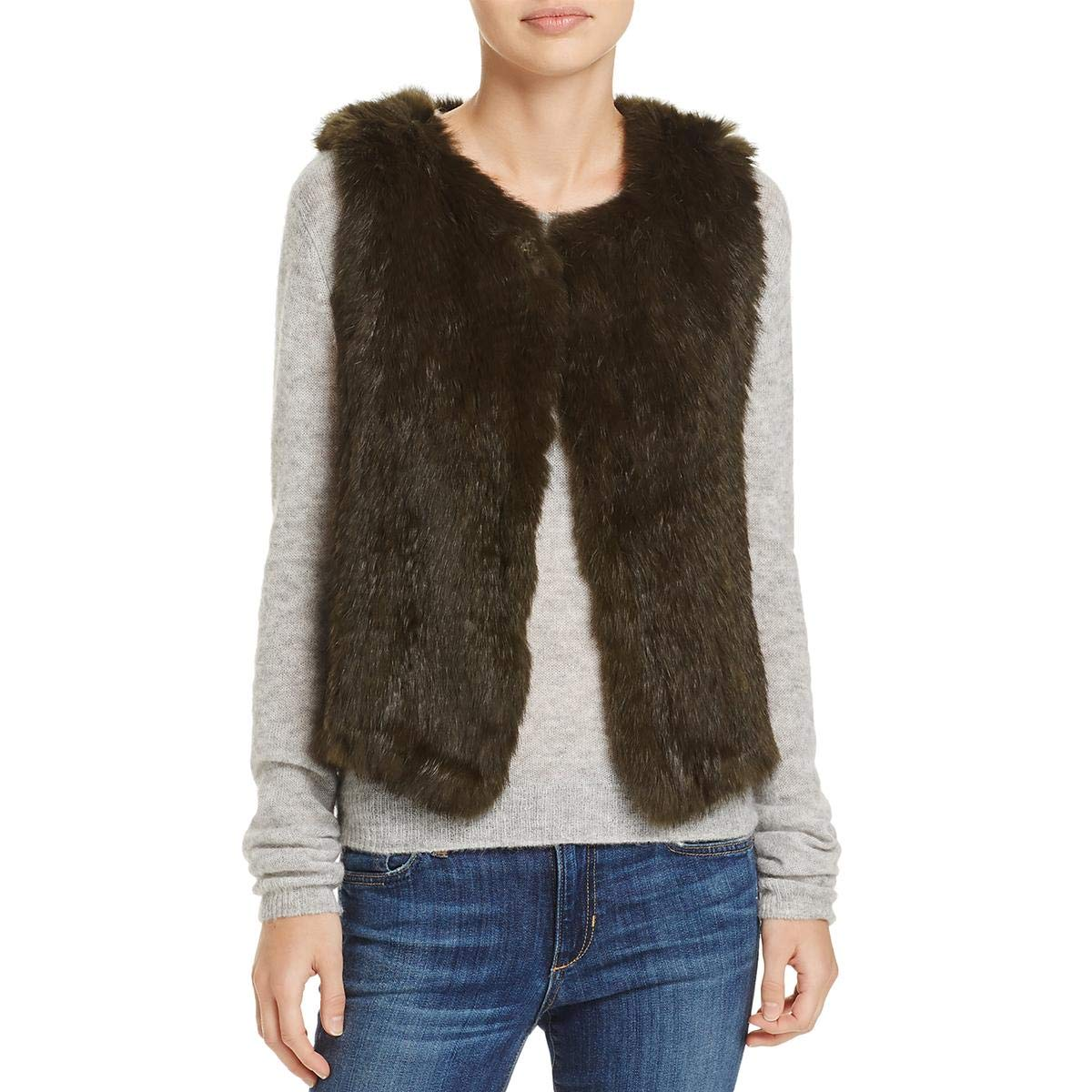 525 America Womens Rabbit Fur Open Front Casual Vest W3646