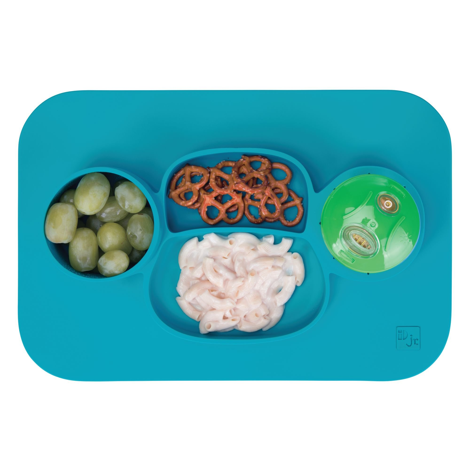 mDesign Silicone Mealtime Plate and Placemat for Babies, Toddlers, Kids - BPA Free, Food Safe � Stays in Place � 4 Sections - Microwave and Dishwasher Safe, Fun Monkey Design, Large, Teal Blue