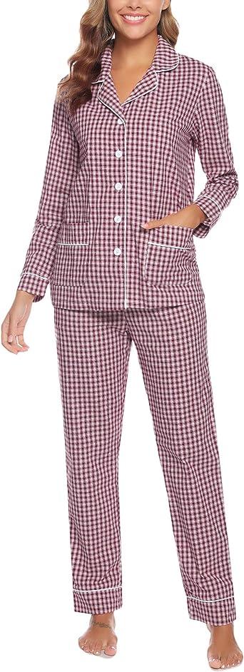 Aibrou Pijamas Mujer Invierno de Cuadros Pijama de Mangas Larga Conjunto Camiseta y Pantalones Largo Ropa de Casa 2 Piezas
