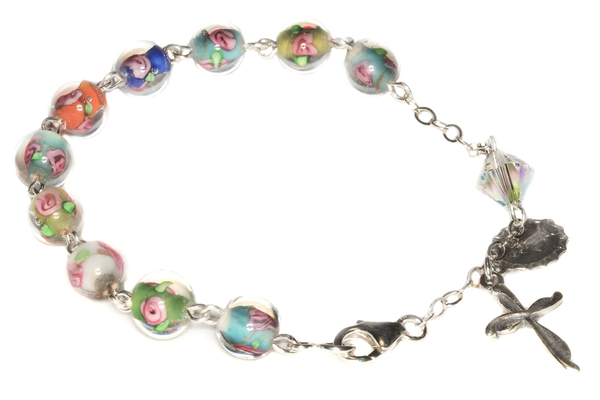 Womens Rosary Bracelet made with Multi-colored Floral Glass & Swarovski Crystal element