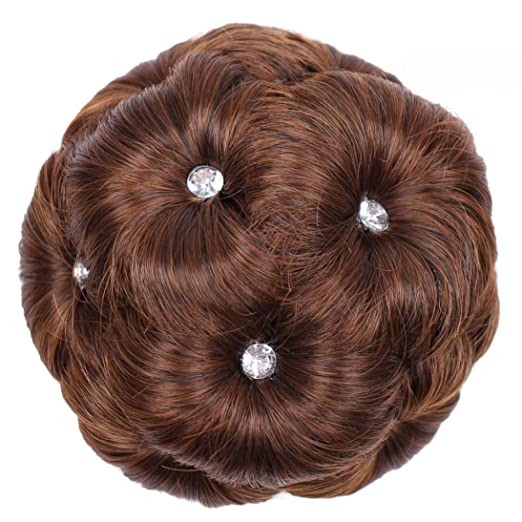 Inkach Hair Ring Bun Wig - Womens Ponytail Holder Hairpiece - Rhinestone  chignon Synthetic Wig ( de90c2aaf11