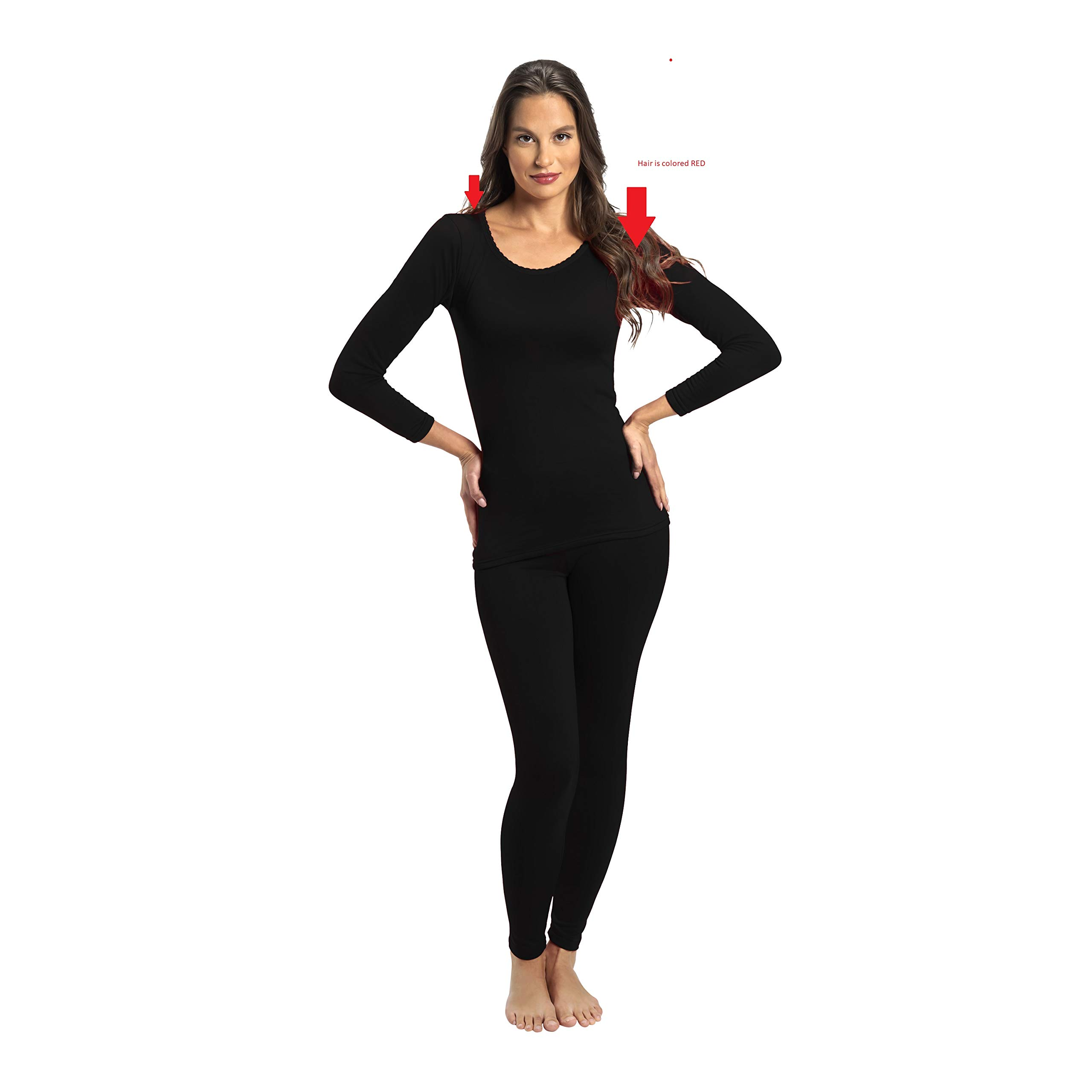 Rocky Thermal Underwear for Women Fleece Lined Thermals Women's Base Layer Long John Set Black by Rocky