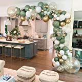 GIHOO 127PCS Olive Green Balloon Garland Arch Kit White Gold Confetti Balloons Retro Green Balloon and Gold Metallic Chrome L