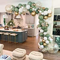 GIHOO 127PCS Olive Green Balloon Garland Arch Kit White Gold Confetti Balloons Retro Green Balloon and Gold Metallic Chrome Latex Balloons Set for Wedding Birthday Balloons Baby Shower Decorations