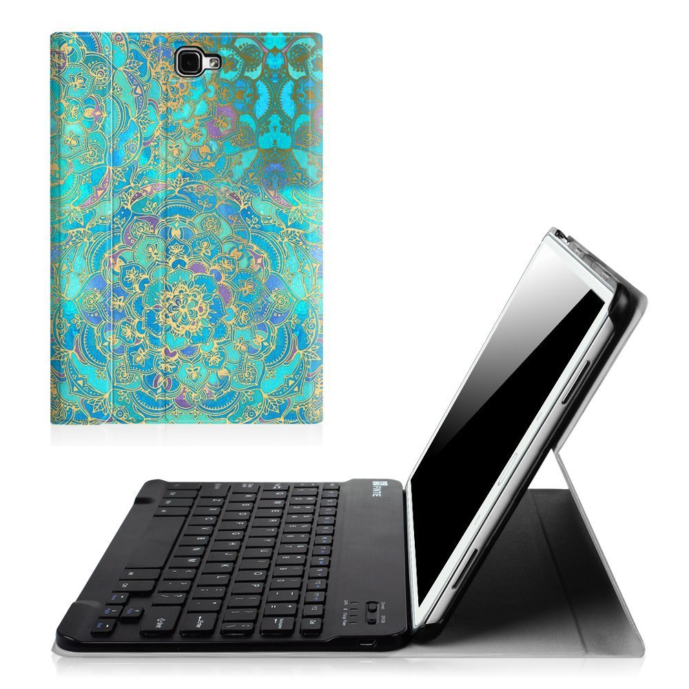NO S Pen Version Slim Shell Light Weight Stand Cover with Magnetically Detachable Wireless Bluetooth Keyboard for Tab A 10.1 Inch Tablet Fintie Samsung Galaxy Tab A 10.1 Emerald Illusions Keyboard Case