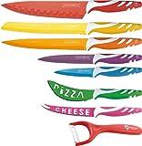 Set de 7 couteaux acier inox + éplucheur céramique - Traitement antibactérien
